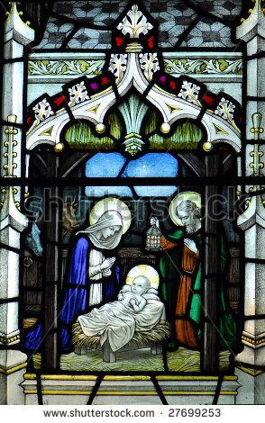 Christmas Nativity Scene On A Stained Glass Window Stock Photo
