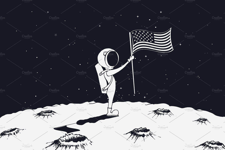 Astronaut Sets A Usa Flag On Moon Usa Flag Moon Drawing Flag Astronaut on moon with flag wallpaper
