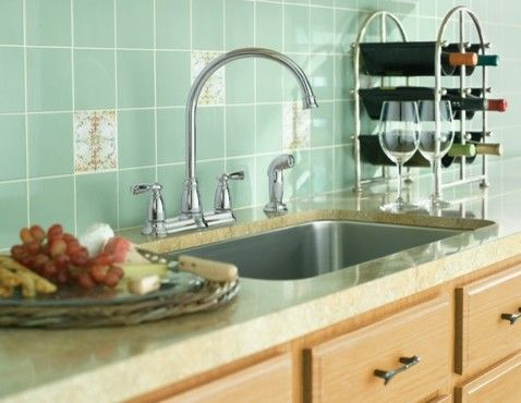 moen banbury chrome two-handle high arc kitchen faucet | soothing
