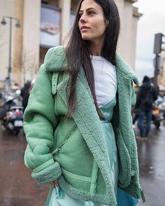 Gilda Ambrosio in Mint Caroline Kummelstedt Shearling Coat and ...