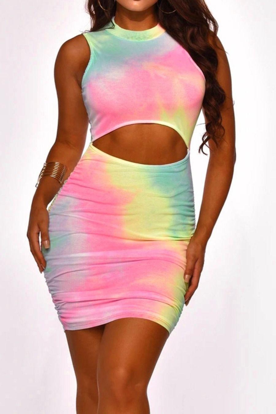Tie Dye Backless Cutout Tie Back Bodycon Dress Tie Dye Bodycon Dress Partywear [ 1350 x 900 Pixel ]