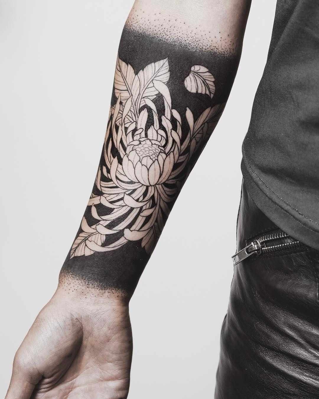 Heavy Blackwork Background Sleeve Tattoos Arm Band Tattoo Chrysanthemum Tattoo