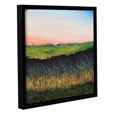 Latitude Run Green Field Framed Painting Print Size: