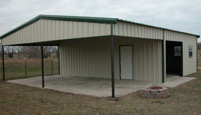 Custom metal building with overhang storage buildings for Pre engineered garage