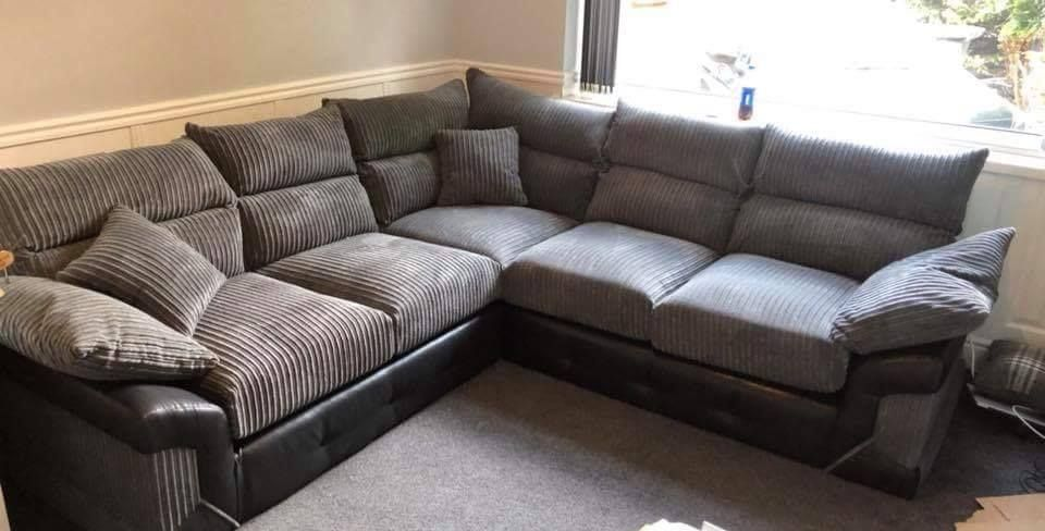 Bromley Grey Cord Leather Large Corner Sofa Livingroom Interior Decor Design Home Sofa Couch Sofa Corner Sofa Sofa Set
