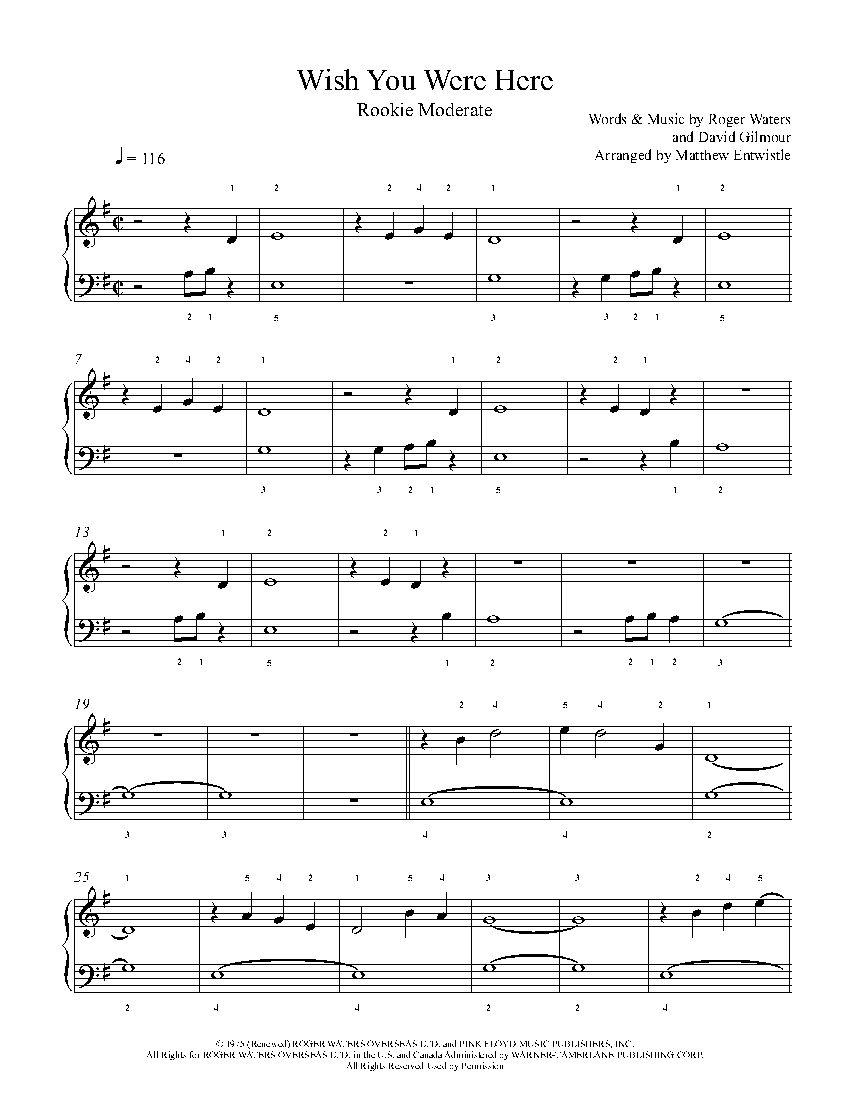 Wish You Were Here By Pink Floyd Piano Sheet Music Rookie Level Piano Sheet Music Sheet Music Piano Sheet