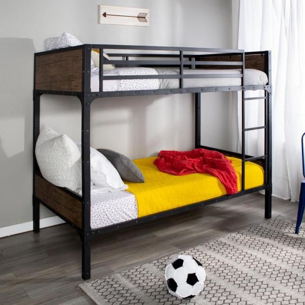 Walker Edison Furniture Company Rustic Industrial Twin Over Twin Wood Bunk Bed Brown Hdtotrmwm The Home Depot Twin Bunk Beds Wood Bunk Beds Bunk Beds