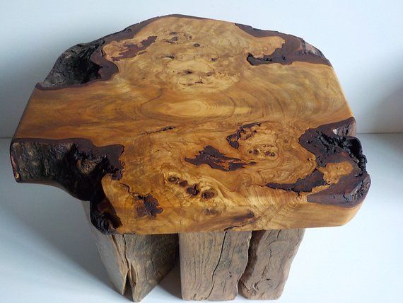 Amazing Burr Cherry Wood Rustic Coffee End Table Made in ...