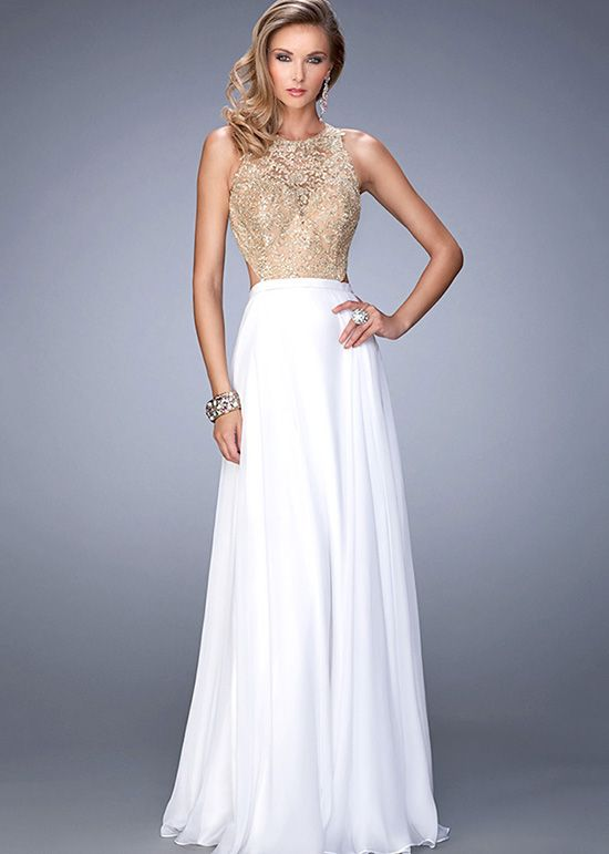 Charming White Embellished Beaded Gold Lace Open Back Party Dress ...