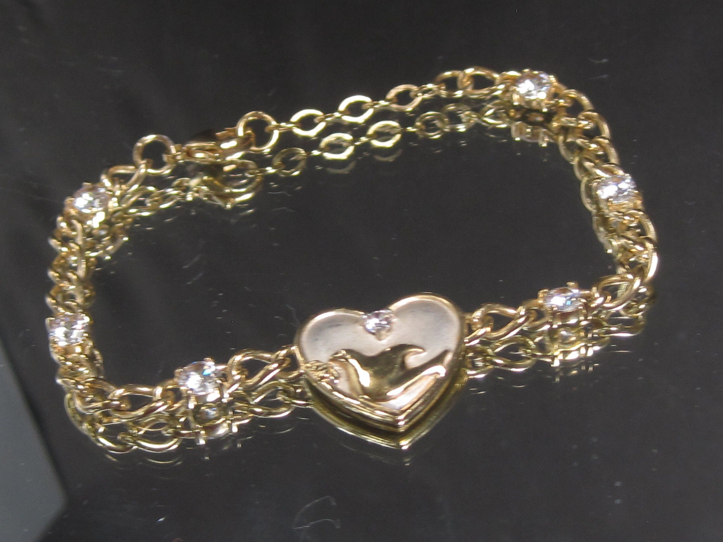 Vintage sterling silver dove in heart mop charm bracelet in