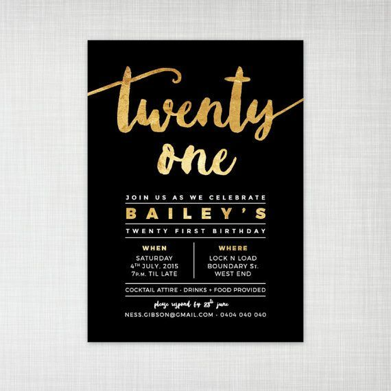 21st birthday party invitation gold foil effect by cartamodello More