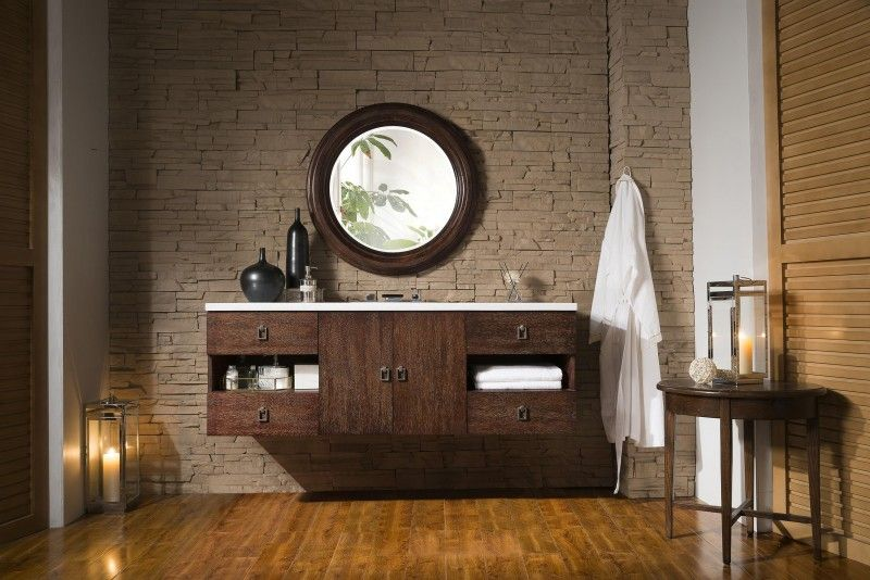 60 Inch Floating Single Sink Bathroom Vanity Coffee Oak Finish