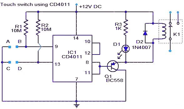 touch switch using ic cd4011 a simple touch switch circuit using rh pinterest com