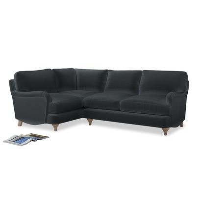 Large Left Hand Jonesy Corner Sofa In Dark Grey Clever Deep Velvet Corner Sofa Sofa Corner Sofa Legs