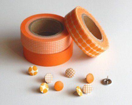 Washi tape thumbtacks. #DIY #OfficeSupplies (Photo by: Dollar Store Crafts)