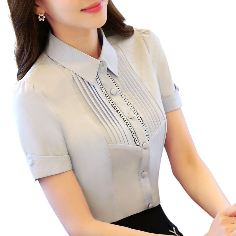 2016 female summer professional Hollow Out short-sleeve chiffon shirt OL fashion work wear slim blouse top plus size S to 4XL