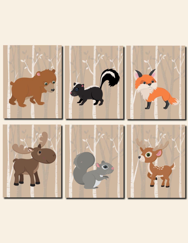 Woodland Animals Nursery Decor Baby Boy Wall Art Kids Room