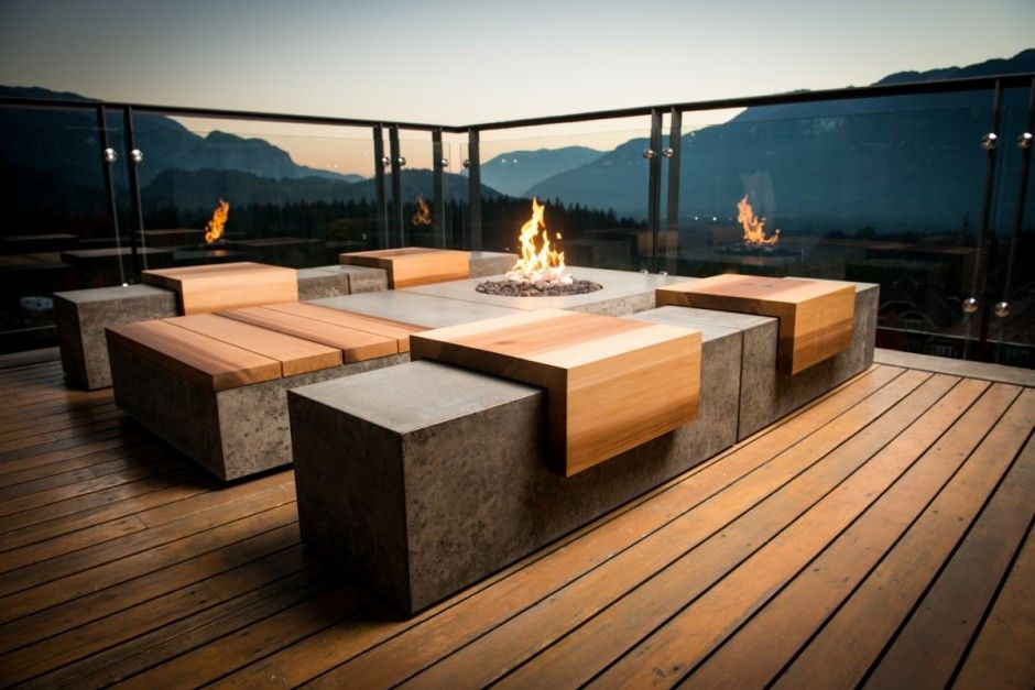 Concrete Wood Outdoor Bench By Sticks Stones Furniture Squamish BC