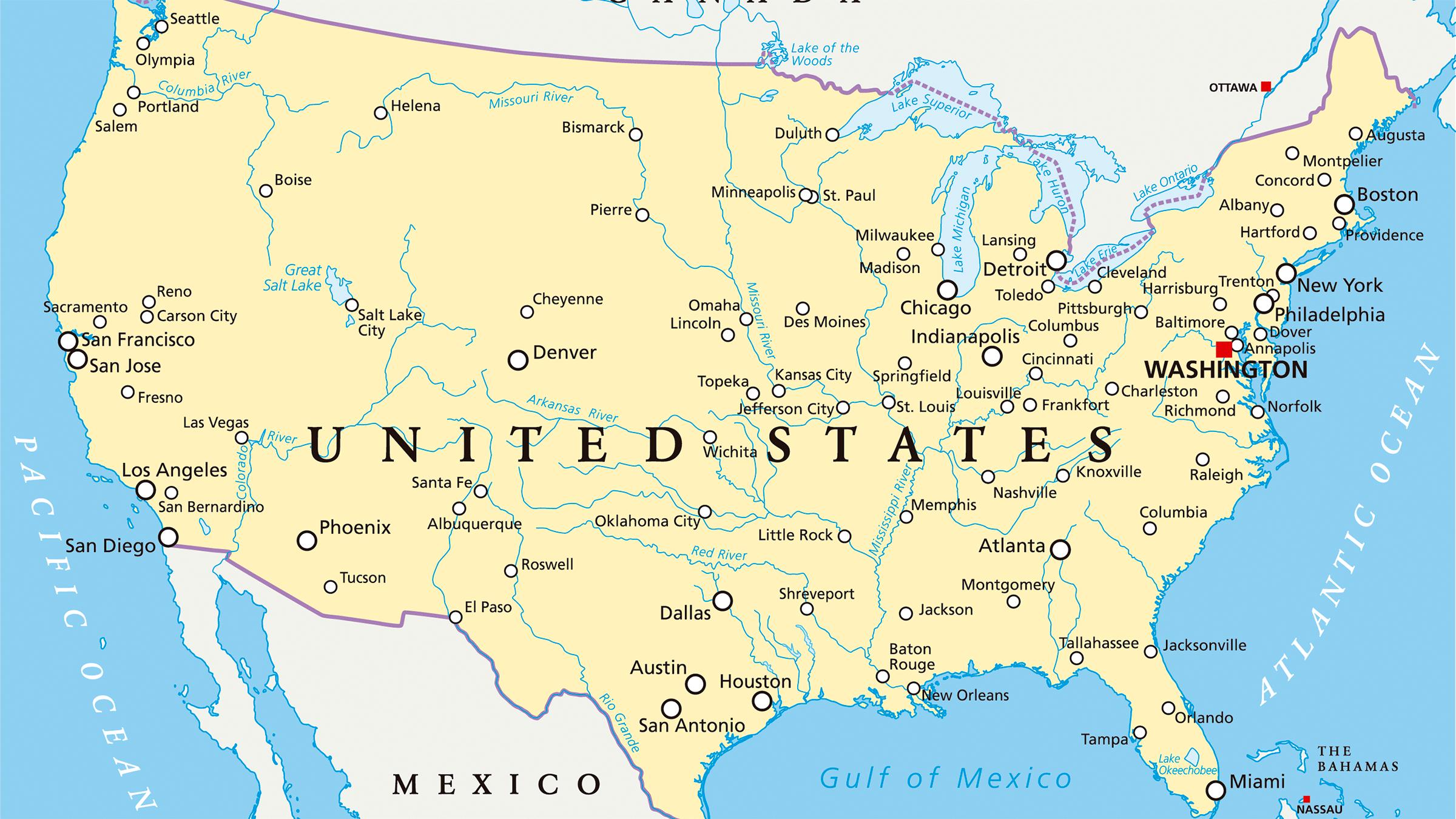 Mapa Hidrográfico De Estados Unidos Mapas Del Mundo Pinterest - Mapa de usa