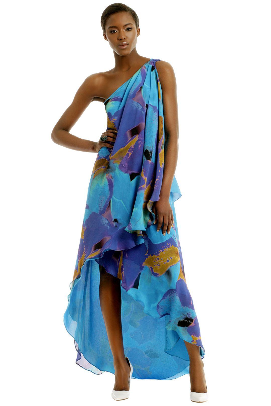 Halston Orissa Lagoon Maxi Beach Formal Attire Summer Wedding Attire Destination Dress [ 1620 x 1080 Pixel ]
