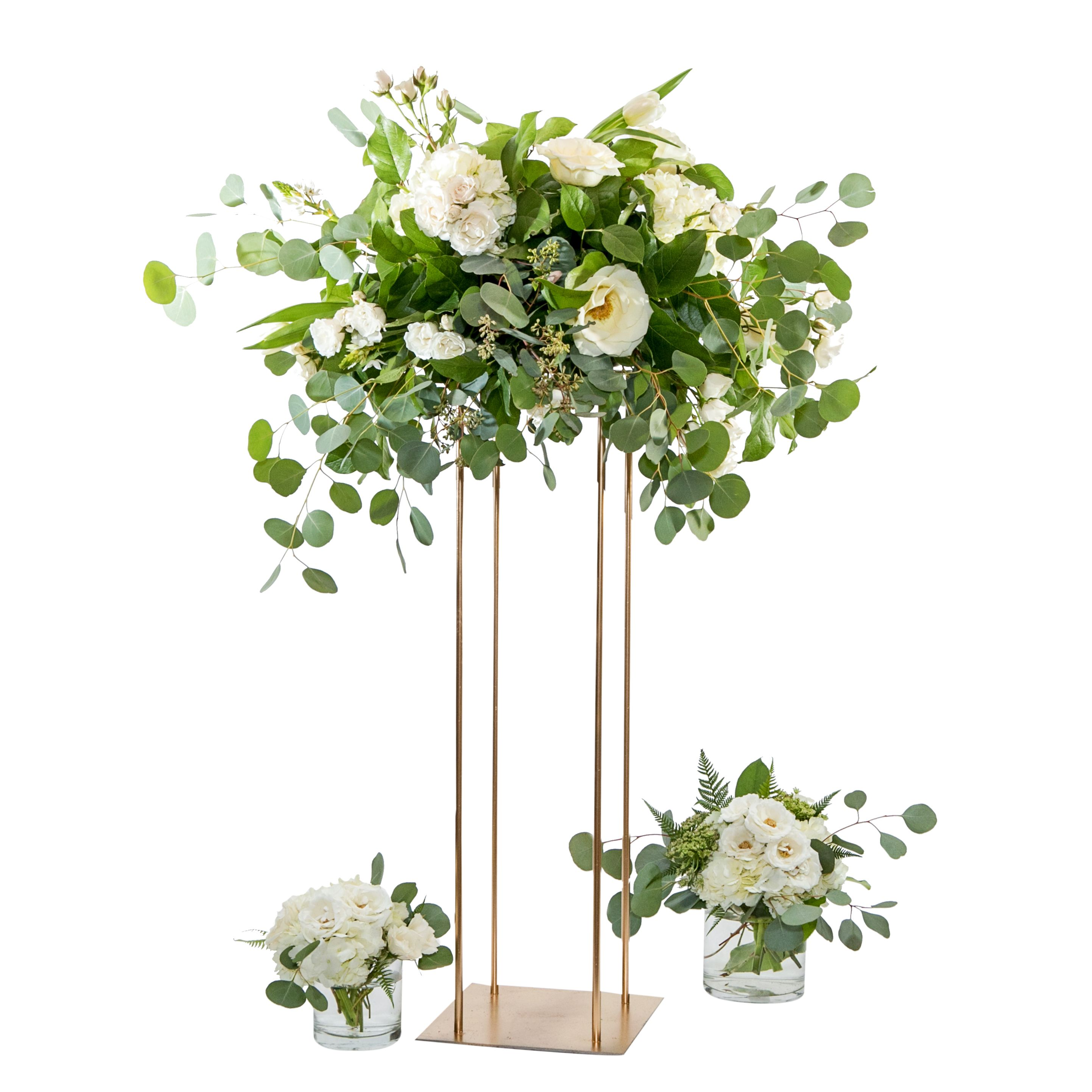 Leigh Florist Tall Gold Metal Stand Rental Centerpieces