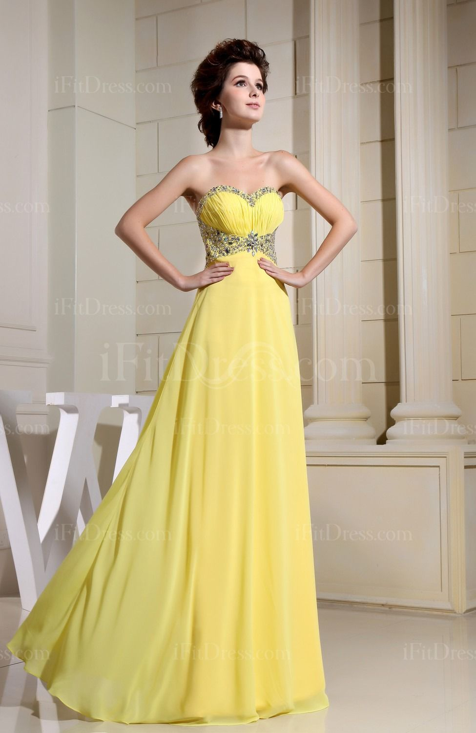 Pale yellow modern sleeveless zipper chiffon ruching evening dresses