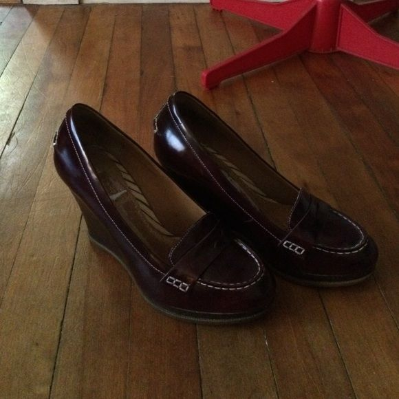 Sperry Top-Sider *must be sold by end of January, going through more boxes, moving in March!* Wedge loafers, patent leather, maroon. Got these right before I found out I was pregnant. My feet don't fit right in them anymore. Only worn once. I had inserts in them, left marks in the foot bed when I took them out. See pics. Sperry Top-Sider Shoes