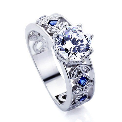 Platinum Plated Sterling Silver Wedding Engagement Ring Blue Stone