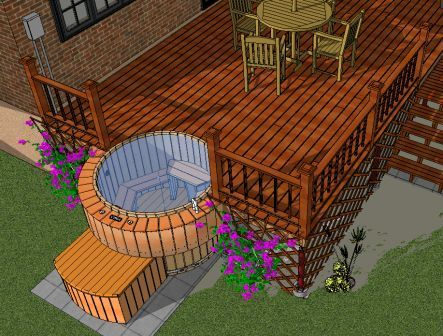 Hot tubs designs sunken hot tub hot tubs and tubs for Hot tub designs and layouts