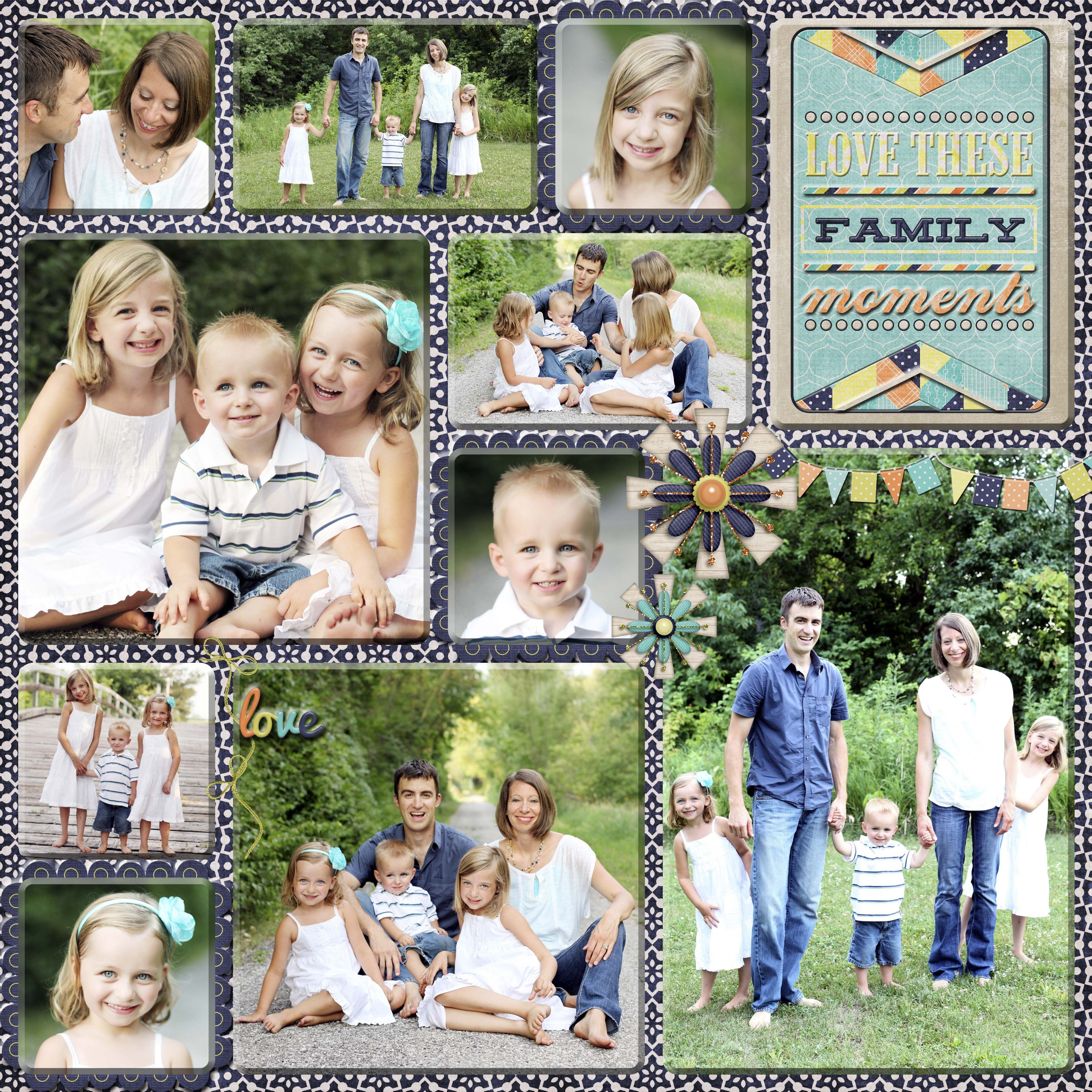 Digital Scrapbook Page, Family Collage, 2 page layout ...