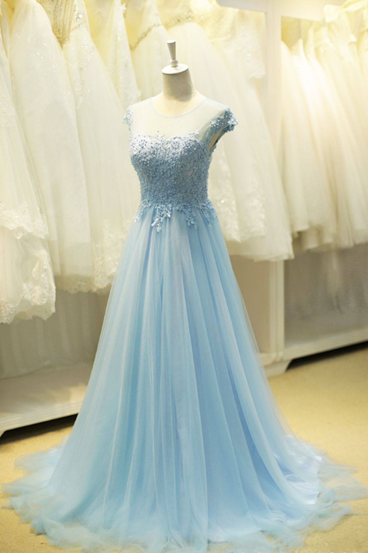 Cute blue tulle round neckline beaded sweet16 prom dress with cap ...