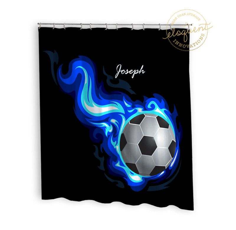 Soccer Shower Curtain   Sports, Blue Flames   Soccer Shower Curtains   Kidsu2026