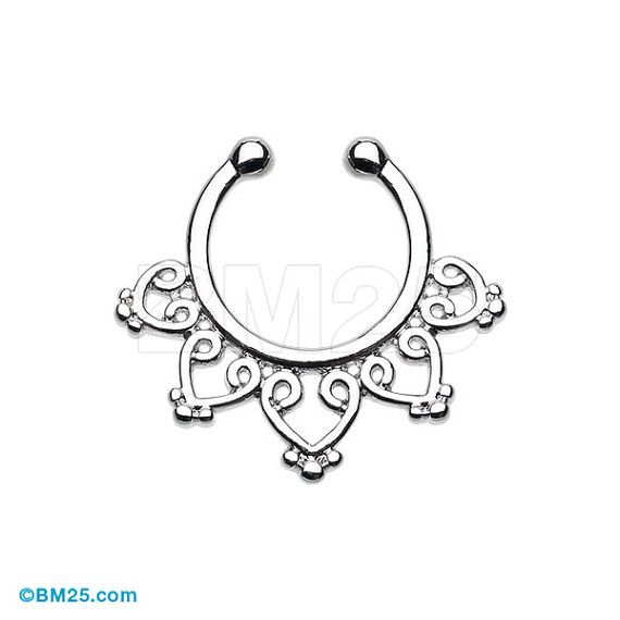 Royal Bliss Filigree Fake Septum Clip-On Ring by BM25Jewelry
