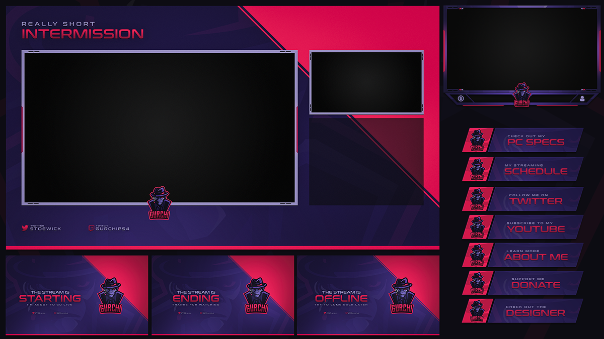 Twitch Livestream Designs (Stream Packages/Overlays) on