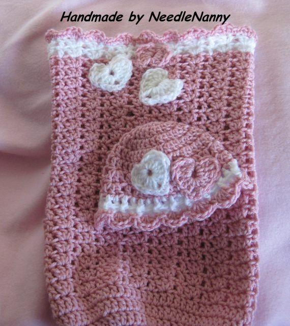 Crochet Cocoon Newborn Sweetheart Swaddle Sack by NeedleNanny, $43.00