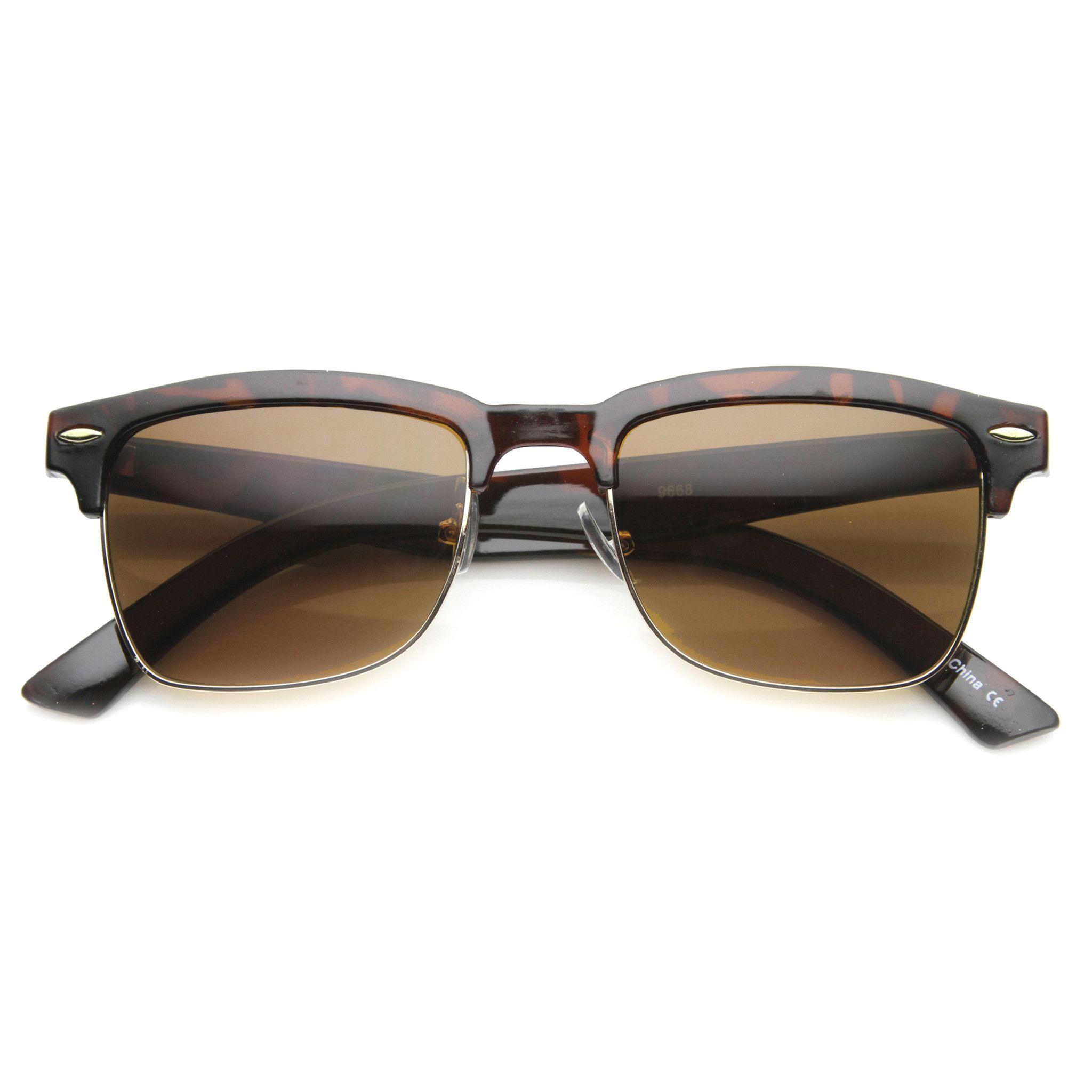 3b619d6475 Indie Dapper Square Half Frame Horned Rim Sunglasses 9809