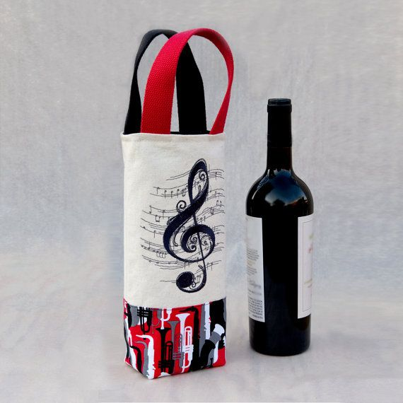 Jazz Music Lover Wine Tote  Wine Gift Bag by NolaDeLisle on Etsy