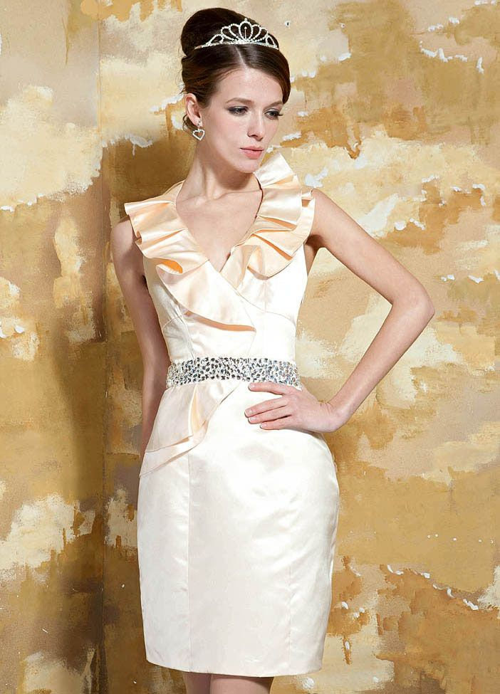 Elva Gorgeous Satin Sheath/Column Short Flouncing Halter Neckline Evening Dress
