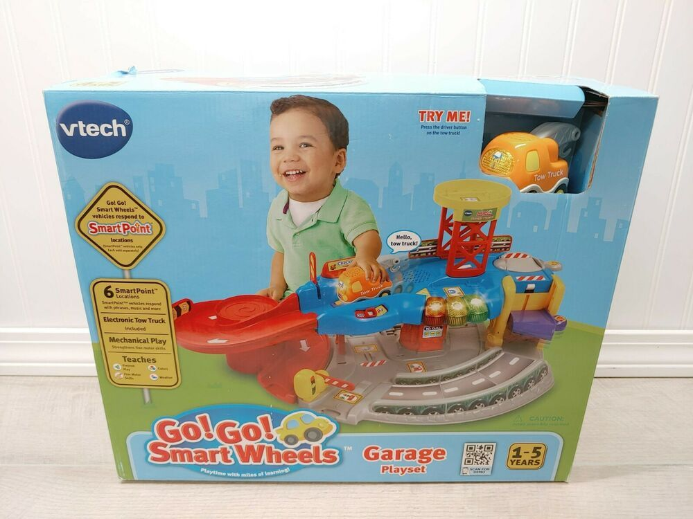 New Vtech Go Go Smartwheels Garage Playset W Tow Truck Ages 1 5 Fast Shipping Vtech In 2020 Playset Tow Truck Towing