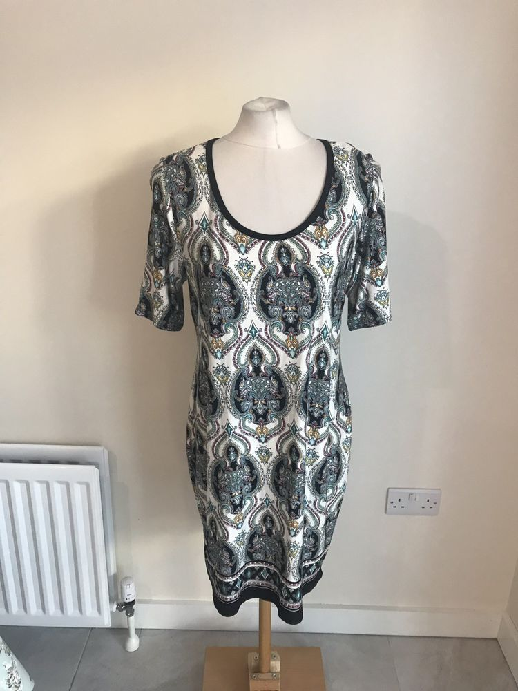 18 Ladies Design Dress Paisley K Tunic amp;d Black London White Size And kOnX08Pw
