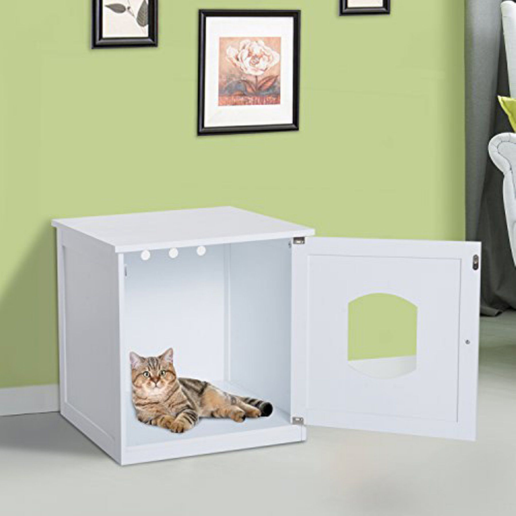 Pawhut Wooden Covered Cat Litter Box End Table Hideaway Cabinet