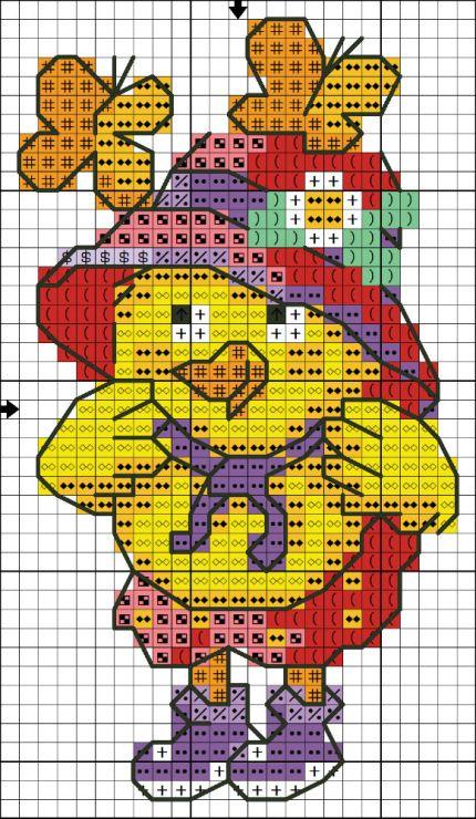 Schemi e disegni per punto croce ricami per pasqua uova farfalle e pulcini da ricamare su tela - Disegni punto croce per tovaglie da tavola ...