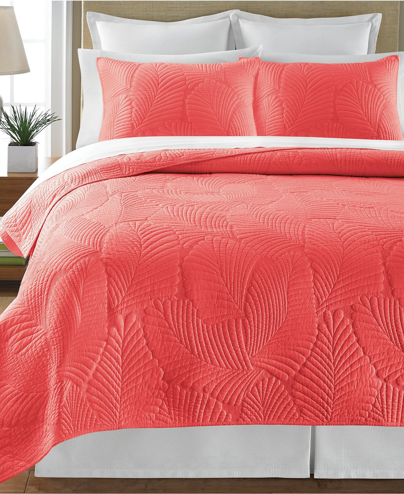Martha Stewart Collection Atlantic Palm Coral Quilts - Quilts ... : coral quilts - Adamdwight.com