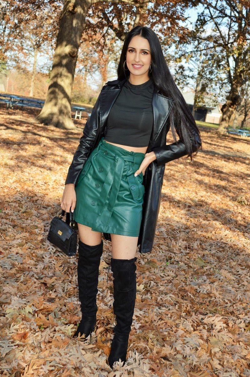 Cute and trendy fall outfit idea with green leather skirt