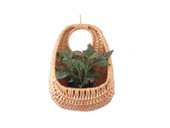 Unique Boho Woven Wicker Wall Basket Teardrop Hanging