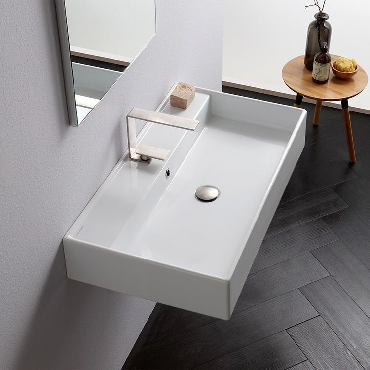Contemporary Style Rectangular White Ceramic Sink Sleek Wall Mounted Or Vessel Sink With Over Drop In Bathroom Sinks Wall Mounted Bathroom Sinks Bathroom Sink