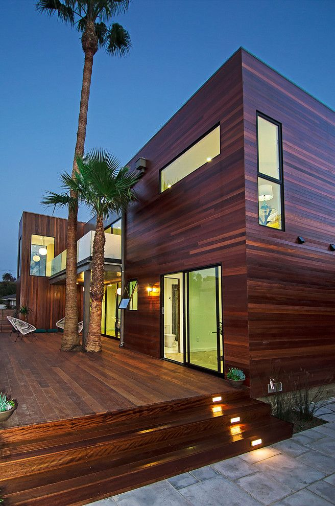 Exterior House Designs Exterior Modern With Concrete Patio Flat Roof: Modern Wood Siding Deck Contemporary With Awning Window Balcony Black