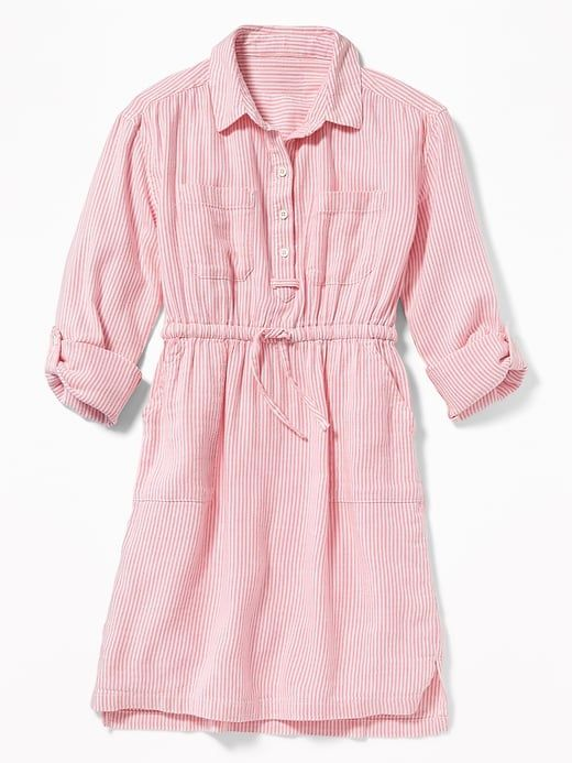 bdd185ecf48 Old Navy Girls  Striped Waist-Defined Utility Shirt Dresss Pink Stripe  Regular Size XL