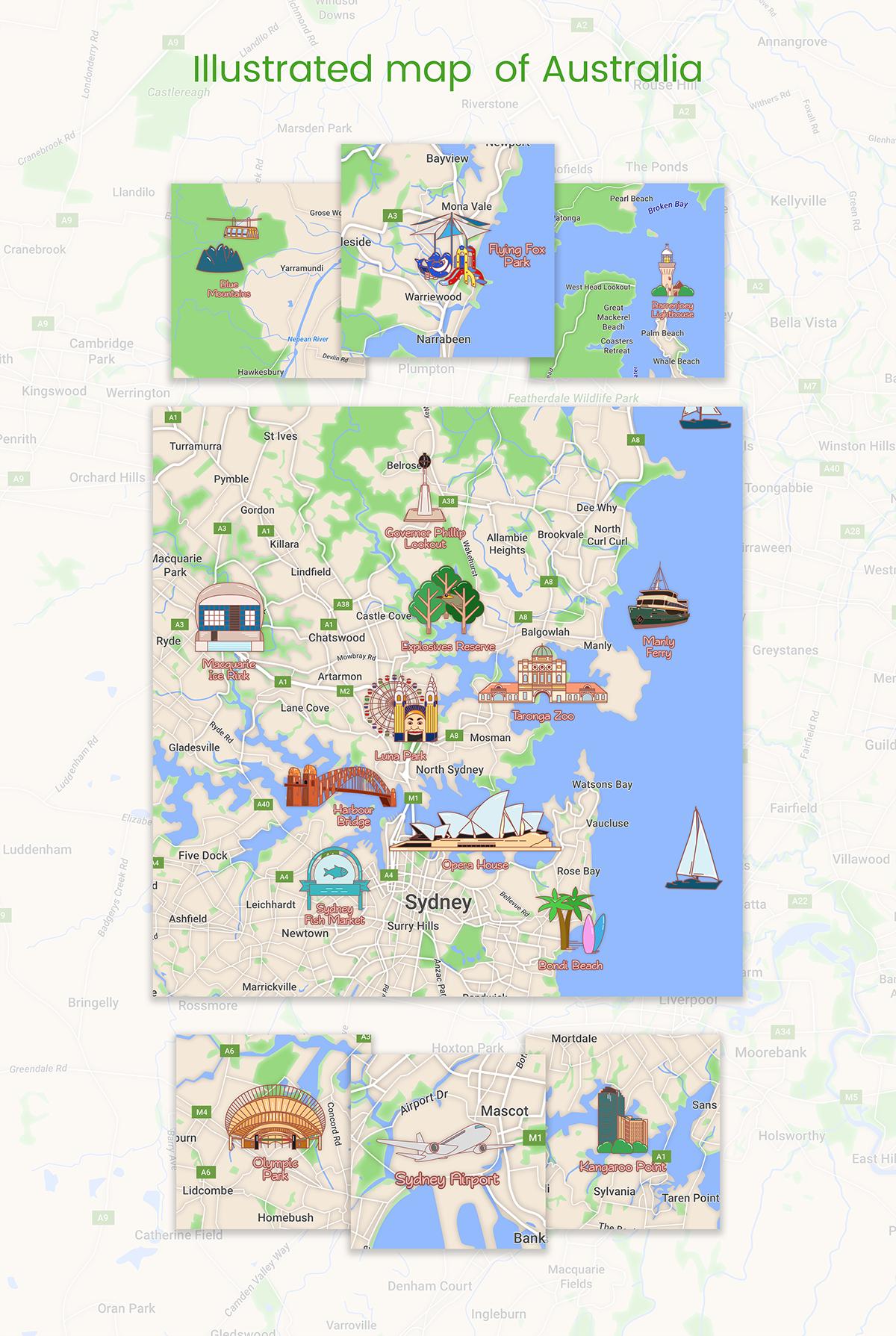 Map Of Australia Sydney.Illustrated Map Of Australia Sydney And Suburbs On Behance Maps
