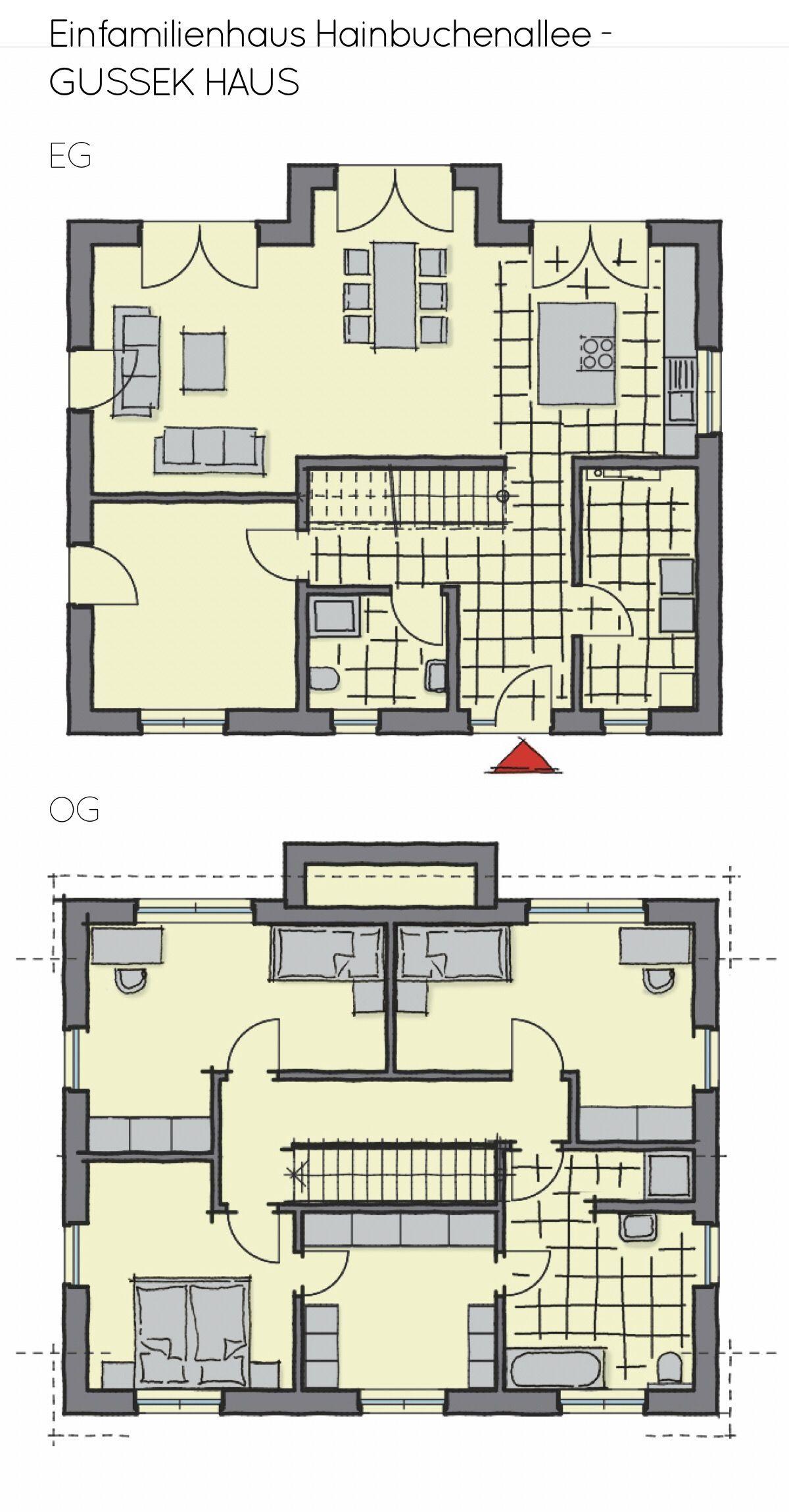 Grundriss Einfamilienhaus mit Satteldach & Erker 5